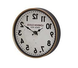 Deco 79 52584 Wall Clock, White/Oak Brown/Black/Red/Brass
