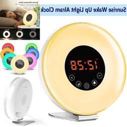 6 Color Switch Sunrise Alarm Clock Digital LED Sleeper Wake