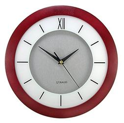 "Timekeeper 6056RR 11"" Round Cherry Wood Wall Clock With Silv"