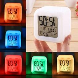7 Color LED Change Digital Glowing Alarm Clock Night Light f