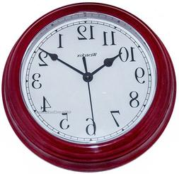 8.5 WESTCLOX ROUND WALL CLOCK BURGUNDY 46983