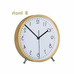 KAMEISHI 8 Inch Wood Desk Clocks Battery Operated For Living