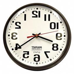 "9-1/5"" Round Wall Clock Arabic, Brown High Impact Polystyren"