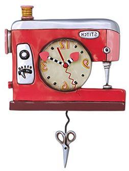 Allen Designs Double Stitch Sewing Machine Pendulum Clock