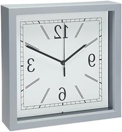 "Bernhard Products - Wall Clock, 9"" Gray Square Wall Clock/De"