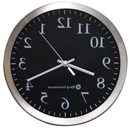 """Bjerg Instruments Modern 12"""" Stainless Silent Wall Clock wit"""