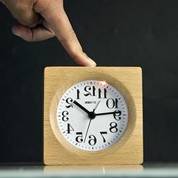 ECVISION Handmade Alarm Clock Classic Small Square Silent Ta
