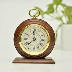ECVISION Non-Ticking Silent Handmade Wood Alarm Clock Snooze
