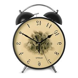 HENSE 8'' Easy to Use Classic Round Twin Bell Alarm Clocks S
