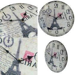 HIPPIH Silent Round Wall Clocks  Living Room Decorative Vint