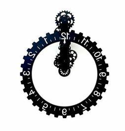 Kikkerland Big Wheel Hour Wall Clock, Black