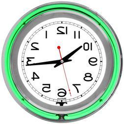 Lavish Home Retro Neon Wall Clock - Battery Operated Wall Cl