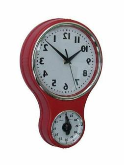 Lily's Home® Retro Kitchen Timer Wall Clock, Bell Shape Red