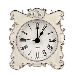 NIKKY HOME Pewter Pretty Small and Cute Vintage Table Clock