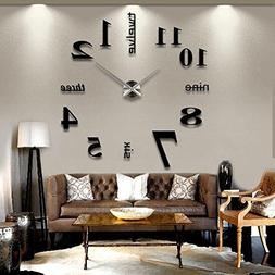 Soledi Modern DIY Large Number Wall Clock 3d Mirror Surface