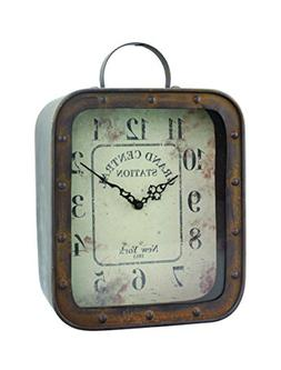 Stonebriar Large Square Rustic Metal Table Top Clock with Ha