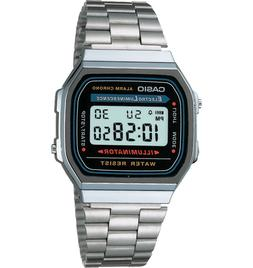 Casio A168W-1 Retro Mens Electro Luminescence Stainless Stee