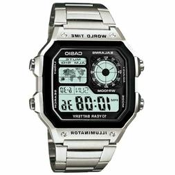 Casio AE-1200WHD-1A Men Digital Dial Wristwatch - Silver