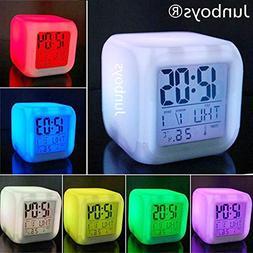 Junboys Alarm Clock 7 LED Color Changing, Wake Up Light Digi