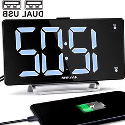 "9"" Digital Alarm Clock Large LED Display Dual Alarm with USB"