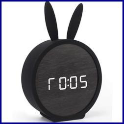 Alarm Clock For Kids Bedroom Digital LED Wooden LARGE Displa