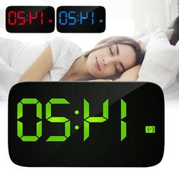 Alarm Clock Large Digital LED Display USB/Battery Sound Cont