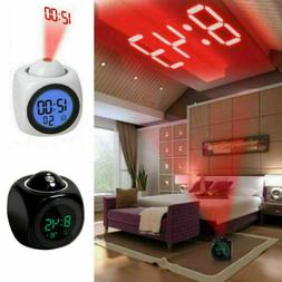 Alarm Clock LED Wall/Ceiling Projection LCD Digital Voice Ta