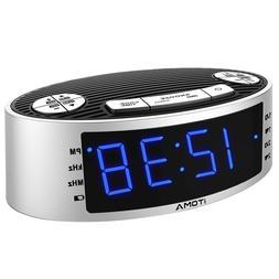 iTOMA Alarm Clock Radio, Digital AM FM, Dual Alarm, Snooze,