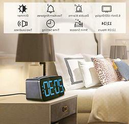 Digital Alarm Clock with USB Charger Port, Adjustable Bright