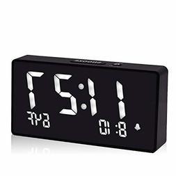 Alarm Clocks for Bedrooms, 5.5 Inch White Digit Display with