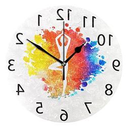 ALAZA Boho Mandala Yoga Round Acrylic Wall Clock, Silent Non