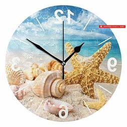 ALAZA Tropical Seashells Ocean Beach Round Acrylic Wall Cloc