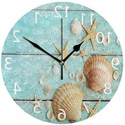 ALAZA Vintage Marine Seashells Round Acrylic Wall Clock, Sil