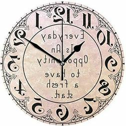 ALAZA Vintage Rose Gold Slogan Round Acrylic Wall Clock, Sil