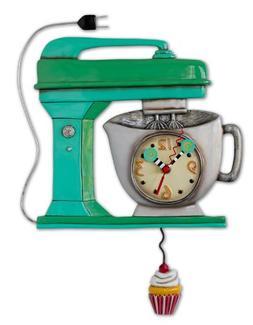 Allen Designs Green Vintage Kitchen Mixer Wall Clock with Cu