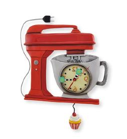 Allen Designs Red Vintage Kitchen Mixer Wall Clock with Cupc