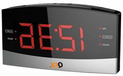 QFX AM/FM Radio Dual Alarm Clock Radio Big Red LED Display A
