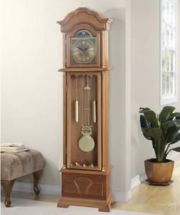 "Antique 71"" Grandfather Clock Wood Floor Standing Vintage Ch"