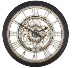 Antique Gear Wall Clock Large Roman Numerals Vintage Black A