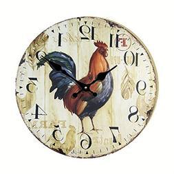 Eruner Antique Style kitchen Clock, 14-inch *Rooster* Vintag