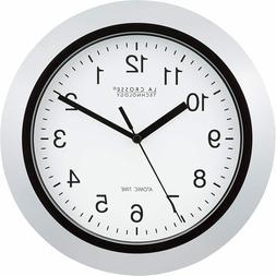"La Crosse Technology 10"" Atomic Analog Clock, Silver"