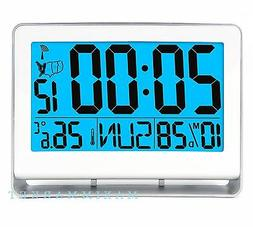 ATOMIC LCD ALARM CLOCK WITH LARGE TIME NUMBERS AND LIGHT