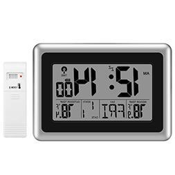 Glisteny Digital Atomic Wall Clock, Indoor Outdoor Thermomet
