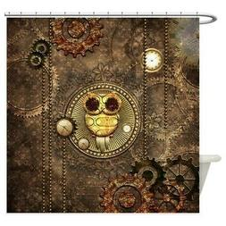 CafePress Awesome Steampunk Owl With Clocks Shower Curtain