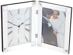 BULOVA B1254 PICTURE FRAME CLOCK,HINGED POLISHED CHROME META