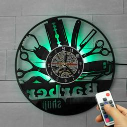 Barber Shop Decor Vinyl Record Wall Clock LED 7 Color Lamp R