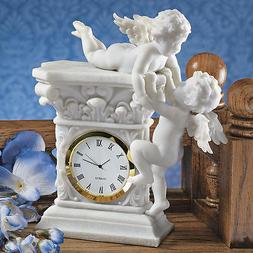 Baroque Twin Cherubs Desktop Clock