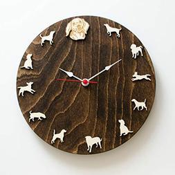 Beagle portrait wood Clock Animal wall clock gift for dog Be