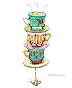 Beautiful SPOT OF TEA Tea Cups Designer Wall Clock by Allen