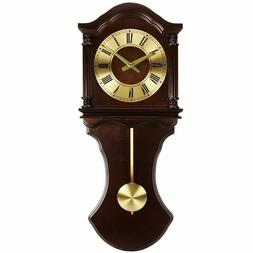 Bedford BED1712 Chocolate Wood Grandfather Wall Clock with P